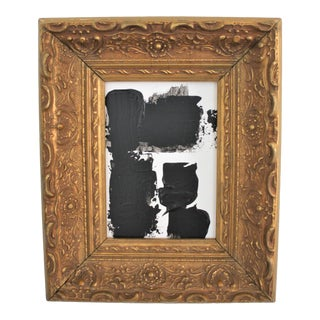 Petite Scale Abstract Black and White Acrylic Painting in Ornate Vintage Gold Frame For Sale