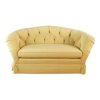 Baker Furniture Yellow Tufted, Upholstered Loveseat For Sale