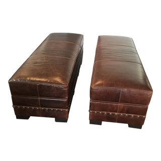 Leather Arhaus Benches With Storage - A Pair For Sale