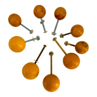 Butterscotch Bakelite Drawer Door Knobs Pulls - Set of 9 For Sale