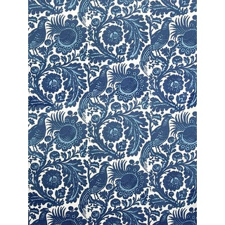 Sample, Scalamandre Resist Print, Light & Dark Blue on White Fabric For Sale