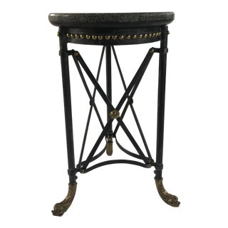 Neoclassical Theodore Alexander Marble and Iron Side Table For Sale