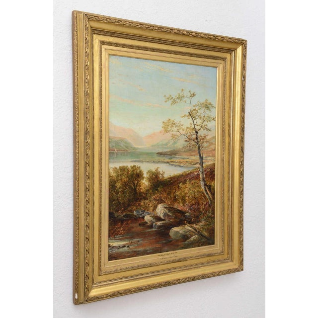 """19th Century Oil on Board Painting, """"Loch Tyt N. B."""": Thomas Hines For Sale - Image 4 of 11"""