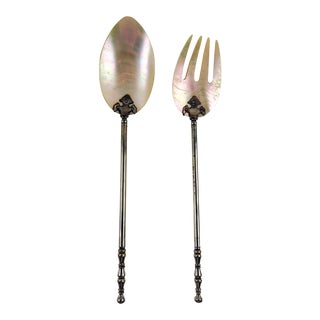 Antique Mother of Pearl Salad Servers For Sale