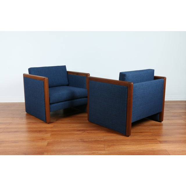 Navy Blue Mid-Century Club Chairs- A Pair - Image 4 of 10