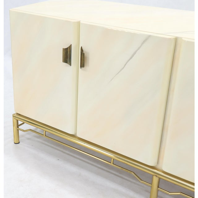 Mid-Century Modern White Lacquer Faux Finish Door 4 Doors Credenza on Brass Base For Sale - Image 6 of 11