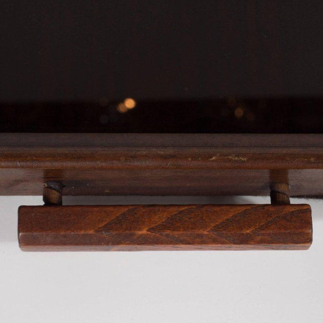 Art Deco Machine Age Streamlined Sterling Silver Glass Tray, Walnut Perimeter For Sale - Image 9 of 11