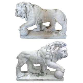 19th Century Italian Marble Lion Statue Sculptures - A Pair For Sale