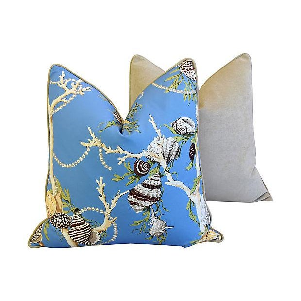"""Blue Designer Nautical Blue Coral & Shells Feather/Down Pillows 26"""" Square - Pair For Sale - Image 8 of 12"""