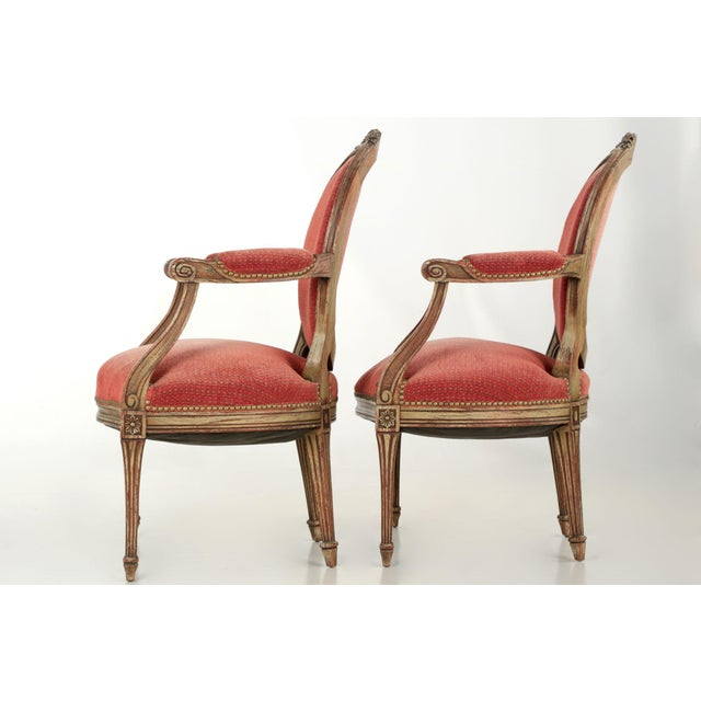 Vintage French Louis XVI Style Gray Painted Fauteuil Arm Chairs - a Pair For Sale - Image 5 of 10