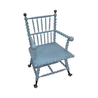 Blue Antique Barley Twist Arm Chair Merklen Brothers For Sale