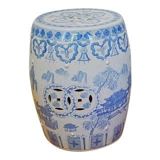 1900s Antique Chinoiserie Blue and White Garden Stool For Sale