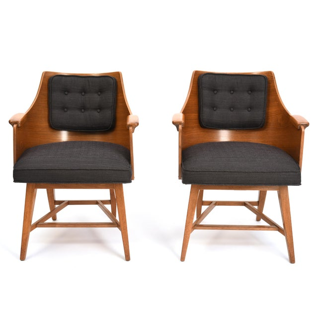 Edward Wormley for Dunbar Chairs, Rare Set of Four, 1950's For Sale - Image 10 of 11