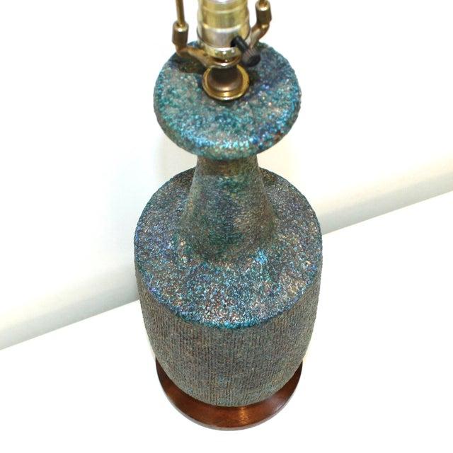 Mid-Century Blue Green Lava Glaze Lamp - Image 2 of 6