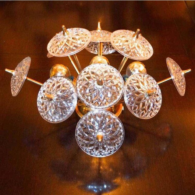 Hollywood Regency Val St. Lambert Crystal and Brass Sputnik Flush Mount For Sale - Image 3 of 6