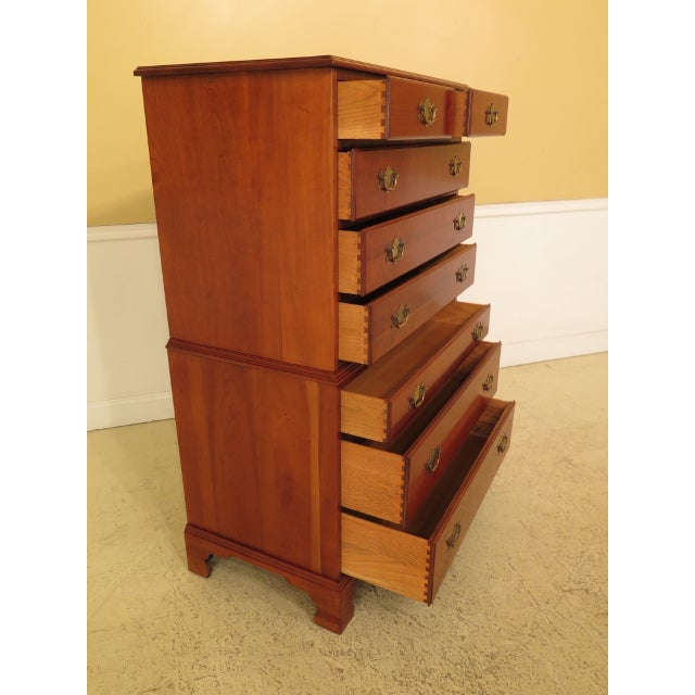 Wood Henkel Harris Solid Cherry Rafferty High Chest For Sale - Image 7 of 13