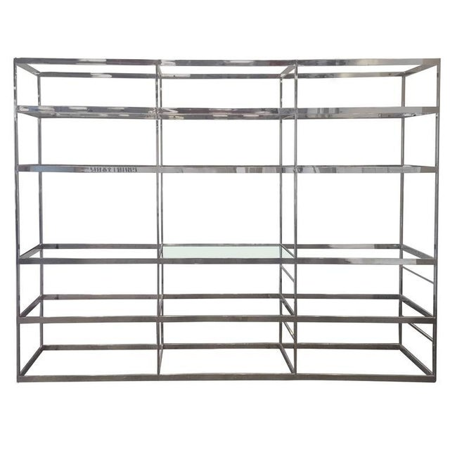 1970s Chrome Etagere with Glass Shelves For Sale - Image 5 of 5