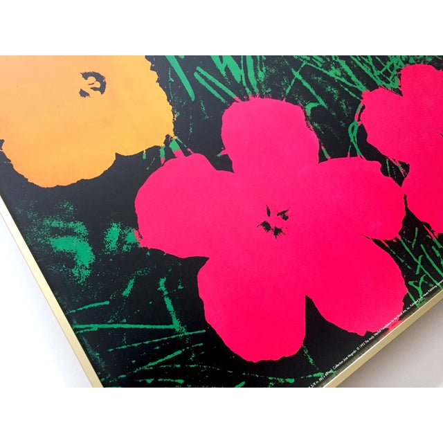 "Dark Pink Andy Warhol Foundation Rare Vintage 1993 Lithograph Print Framed Iconic Pop Art Poster "" Flowers "" 1964 For Sale - Image 8 of 13"