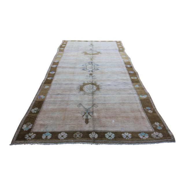 "Vintage Hand Knotted Turkish Oushak Rug - 5'10"" X 11'10"" For Sale"