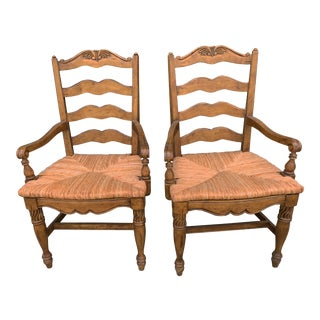 French Provincial Rush Seat Armchairs French Country Farmhouse Ladder Back Dining Chair Fauteuils - a Pair For Sale