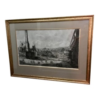 Large 1822 Neoclassical Rossini Engraving: The View From Quirinal Hill, Rome For Sale