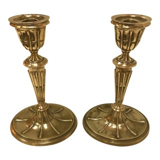 Traditional English Vintage Heavy Metal Candlesticks - a Pair For Sale