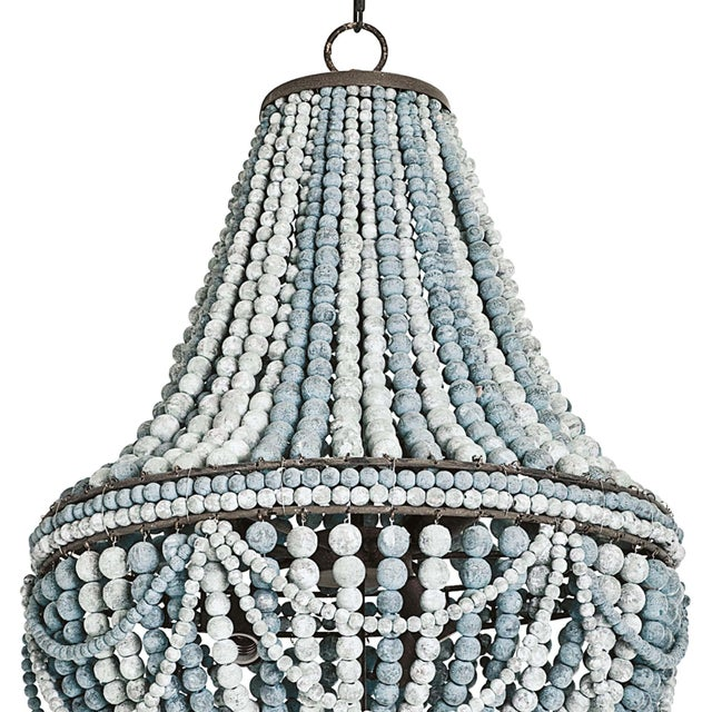 Transitional Malibu Chandelier (Weathered Blue) For Sale - Image 3 of 5