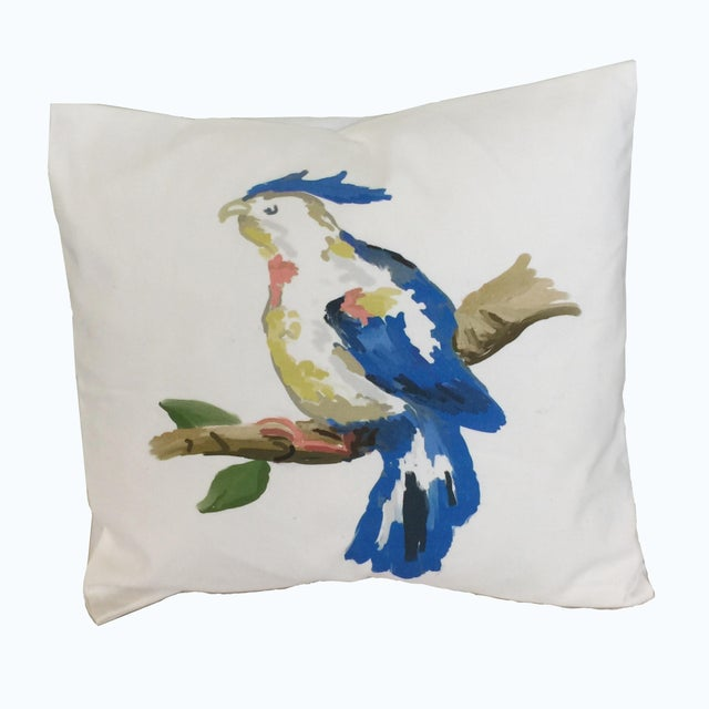 Beautifully rendered blue parrot pillow adds a tropical note for just the right punch. An exclusive design by Dana Gibson...