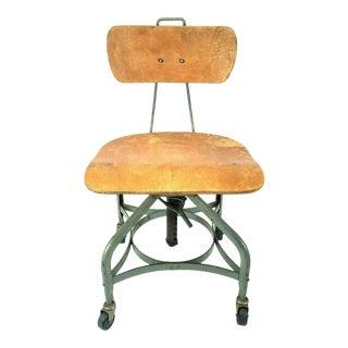 Vintage Toledo Metal Furniture Co. Industrial Adjustable Drafting Chair For Sale