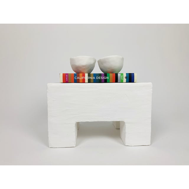 The Freya Minimalist Raw Plaster Footstool For Sale In Palm Springs - Image 6 of 8