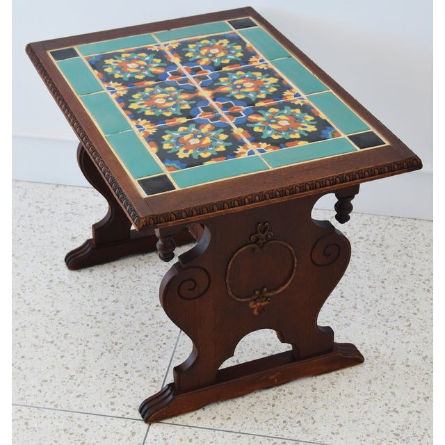 1940s California Mission Tile Oak Accent Coffee Table For Sale - Image 9 of 13