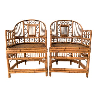 Vintage Brighton Pavilion Style Chinoiserie Chippendale Bamboo and Cane Armchairs - a Pair For Sale
