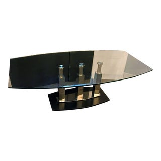 Contemporary Glass and Chrome Coffee Table For Sale