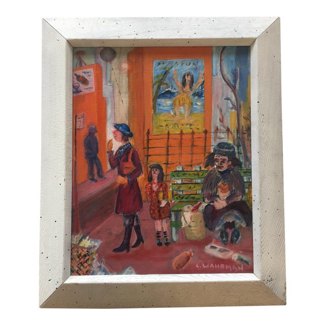 Mid Century Modernist Original Painting, Street - Image 1 of 6