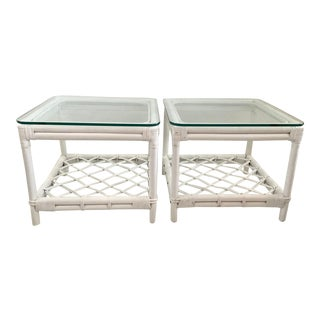 Vintage Ficks Reed White Rattan Side Tables - A Pair For Sale