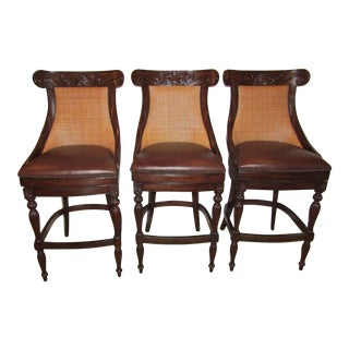 Modern Contemporary Artistica Stools With Leather and Rattan- Set of 3 For Sale