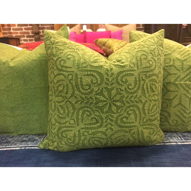 Hand Applique Green Pillow - Image 5 of 8