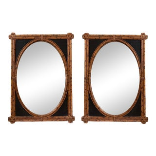 British Colonial Fired Bamboo Mirrors by Henredon Furniture a Pair. For Sale