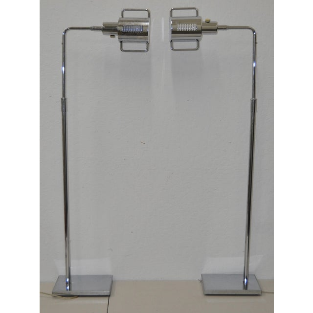 """Pair of Koch & Lowy Chrome """"Pharmacy"""" Floor Lamps c.1970. Beautiful chrome - adjustable height and rotation features. Very..."""
