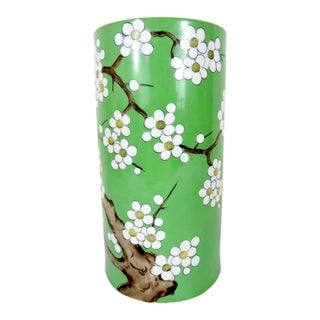 Vintage Green Noritake Porcelain Vase With White Cherry Blossoms, Japanese For Sale