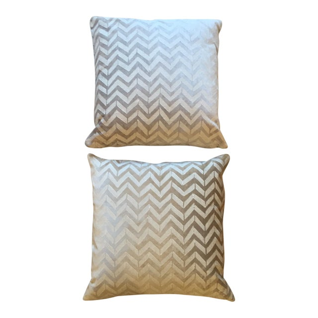 Room board white herringbone pillows a pair chairish for Room and board pillows