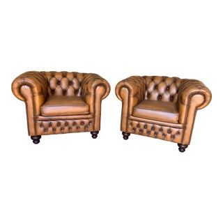 Vintage Mid-Century English Leather Chesterfield Club Chairs, Cognac - a Pair For Sale