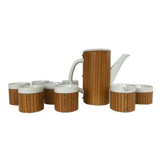 Vintage Gump's Porcelain and Bamboo Tea Set - Set of 10 For Sale