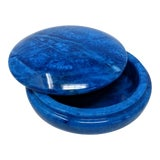 Image of Italian Cobalt Blue Alabaster Round Swivel Top Box For Sale