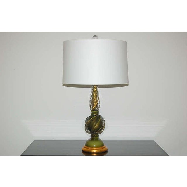 The Marbro Lamp Company Marbro Murano Glass Table Lamps Green Gold For Sale - Image 4 of 9