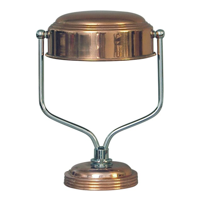 Restored Markel Chrome and Copper Swiveling Table or Desk Lamp For Sale