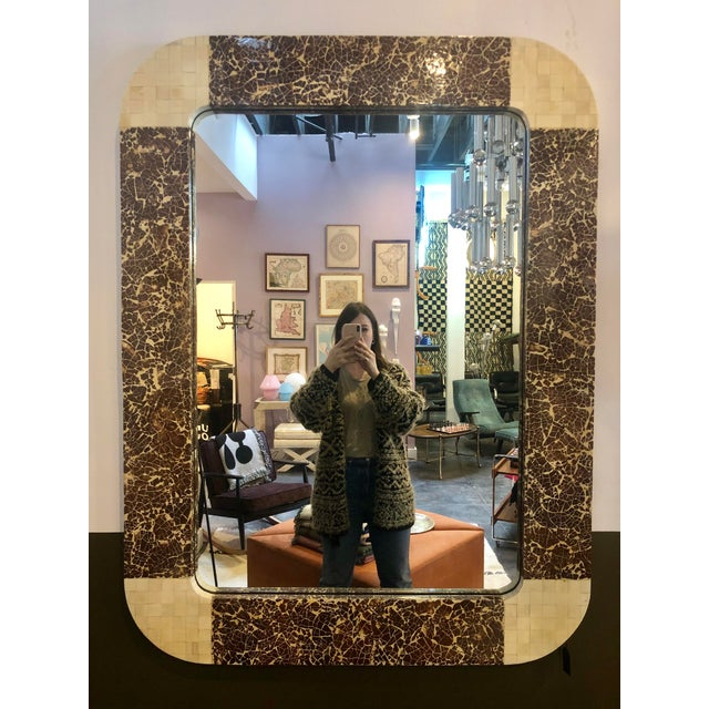 Enrique Garcel Tessellated Bone and Coconut Shell Oversized Wall Mirror For Sale - Image 9 of 9
