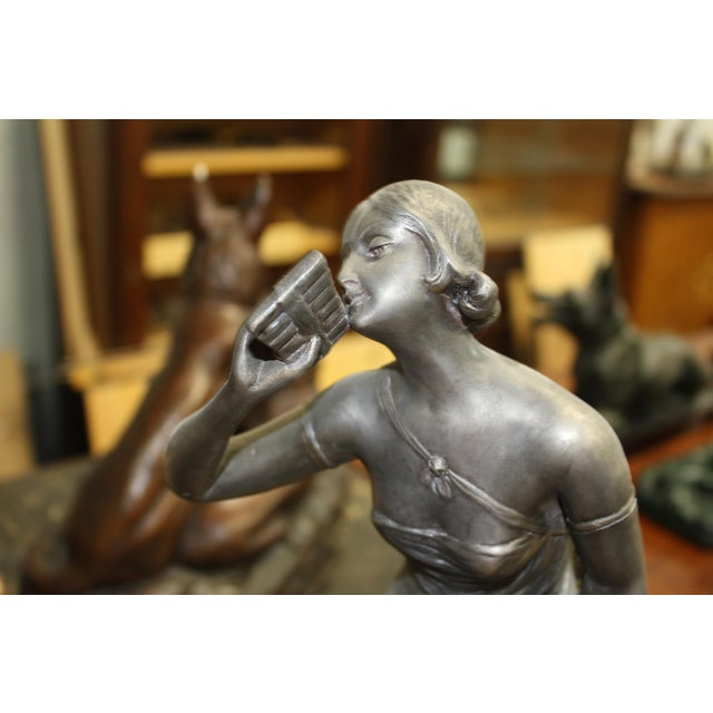 Gray French Art Deco 3-Piece Clock Garniture, Marble with Woman Sitting, Circa 1940s For Sale - Image 8 of 11