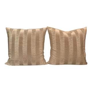 Italian Kravet Couture Metallic Pleat Pillows - a Pair For Sale