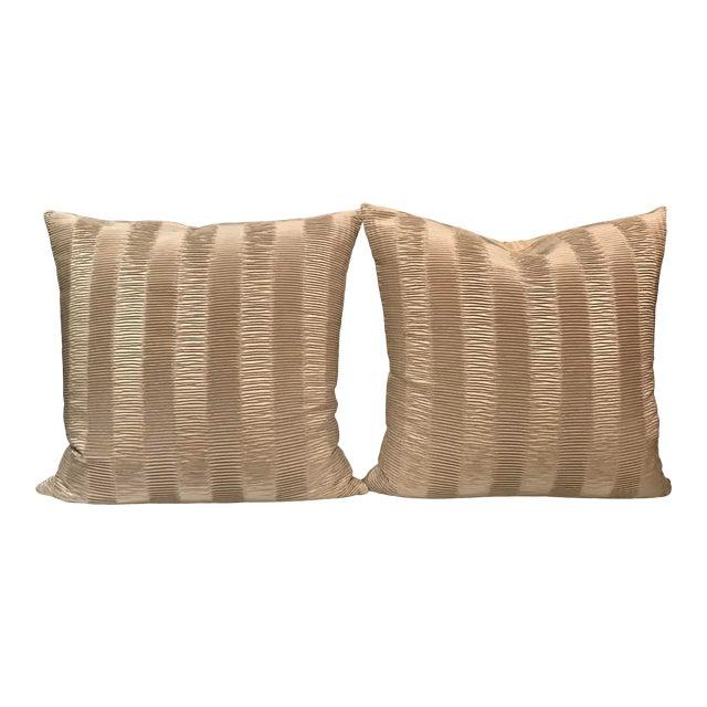 Italian Kravet Couture Metallic Pleat Pillows - a Pair For Sale
